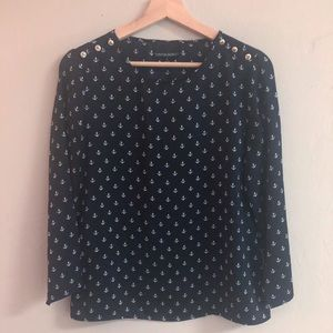 Cynthia Rowley Navy Popover Blouse Anchors Size S
